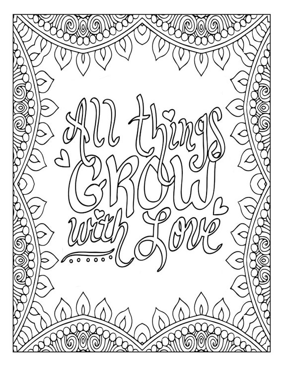 Motivational Word Art Coloring Page Inspirational Love
