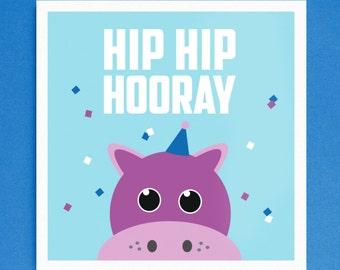 Hip Hip Hooray Hippo Birthday Card