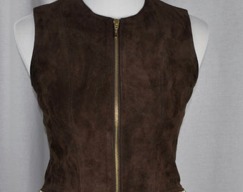 Brown Suede Banana Republic Vest with Zippers Sz 2