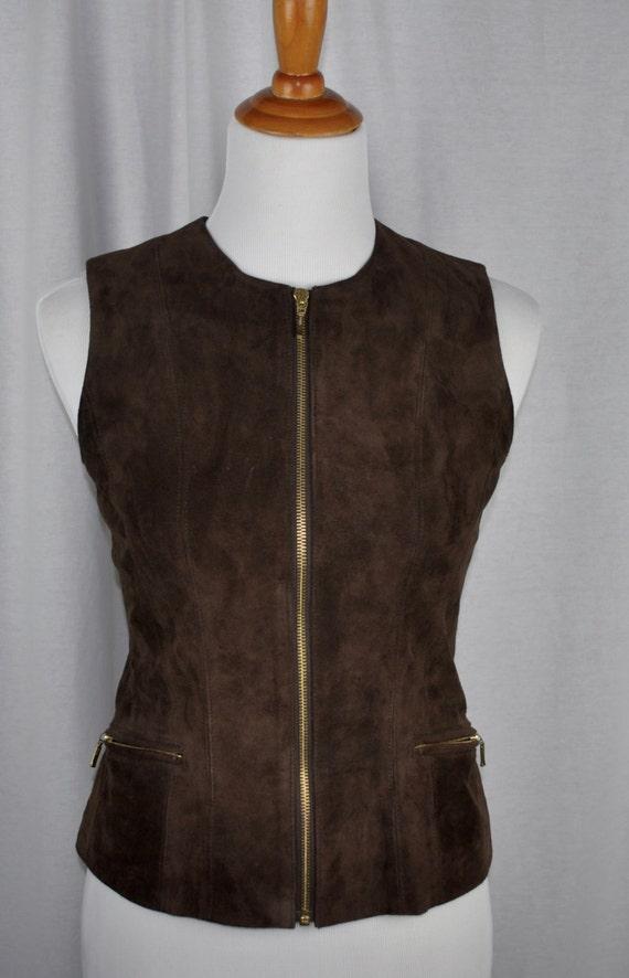Brown Suede Banana Republic Vest with Zippers Sz 2