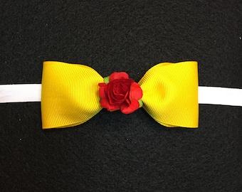 Belle Bow or Headband, Disney Princess Bow, Beauty and the Beast Bow