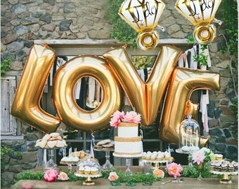 Jumbo gold love letters helium  balloons with 2 diamond ring balloons I DO