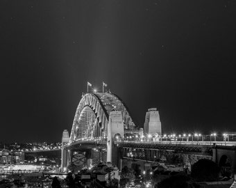 Sydney Harbour Bridge to the stars (Black and white)