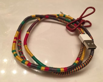Marley USB Charging Cable - Custom Wrapped Rasta iPhone Charger Cord