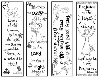 Bible Verse Bookmarks for Children B/W Color Your Own Print and Cut