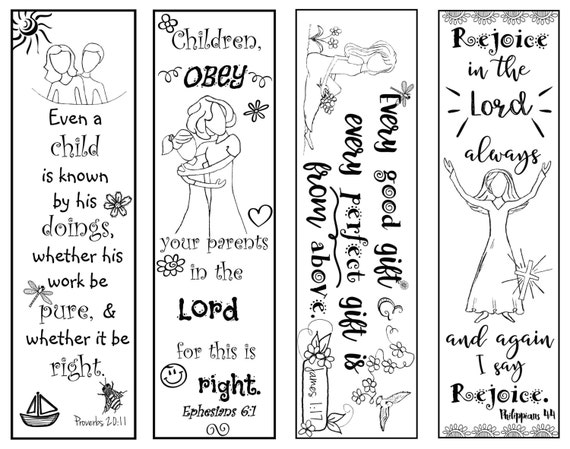 Bible Verse Bookmarks For Children B W Color Your Own Print