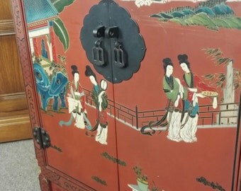 Antique Oriental Hand Painted Laquered Japanese Cabinet Furniture