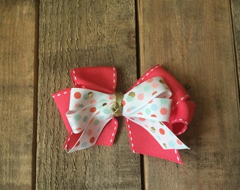 Polka dot & Coral Stitched ribbon hair bow