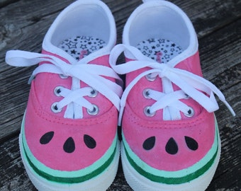 Hand painted watermelon shoes