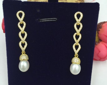 Sterling Silver Pearl Earrings 925 Sterling Silver (E102)