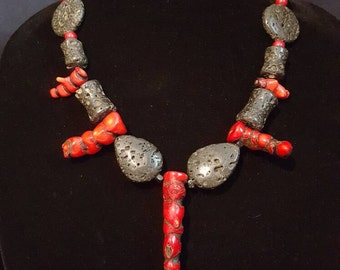 Unique Bamboo Coral and Lava Stone Necklace
