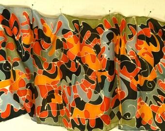 "14""x72"" Hand Painted Habotai Silk Scarf- 14""x72""(RBSAW14""x72""-2)"