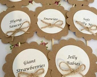 10 Kraft Card Sweet Labels