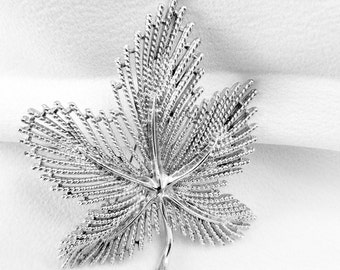 Vintage Sarah Coventry Leaf Brooch, Signed, 1970's, Silver Tone, Maple