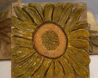 Sun Flower Bas Relief Ceramic Tile/Wall Hanging