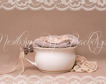 Newborn Digital Backdrop (cup/beige/lace)