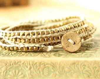 Golden Metal Beaded Hemp Wrap Bracelet/Hemp Wrap Bracelet/Wrap Bracelet/Boho Bracelet/Beaded Bracelet/Beaded Hemp Wrap Bracelet
