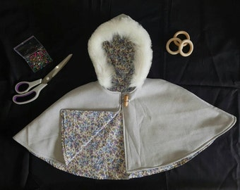 Grey Childrens Cape with Fluff