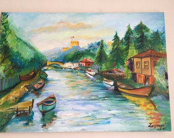 canvas landscape oil painting I İstanbu