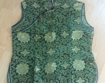 Vintage green and gold Oriental top