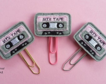Mix tape paperclip / planner clip, retro tape paper clip, old school tape, cassette tape, mix tape paper clip, retro mix tape