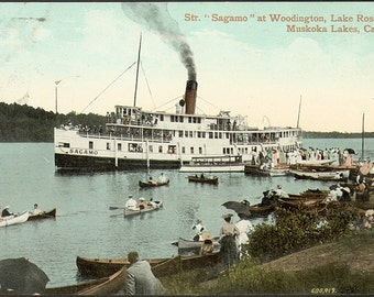 Sagamo steamer ship on Lake Rosseau in Muskoka. Print of 1910 postcard. Antique vintage art print, wall decoration, cottage decor.