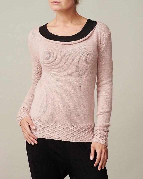 Smock knit boat neck pullover sweater PDF knitting pattern ...