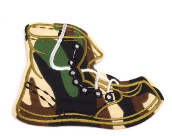Camouflage Boot Iron on Applique 8 x 11cm, Camouflage Boot Iron on Patch, Camo Boot Patch