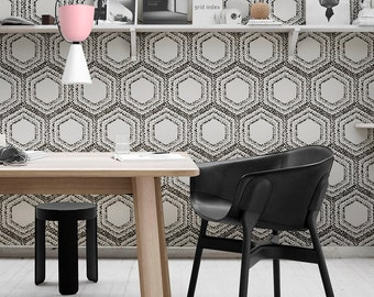 Geometric pattern removable wallpaper | Peel and stick wallpaper | Reusable wall sticker | Repositionable wall decor  #15