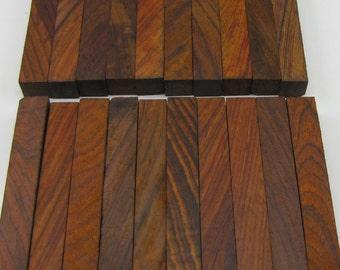 "20 Diagonal Cut Cocobolo Exotic Wood Pen Blanks 5/8""x5/8""x5"" C-4"