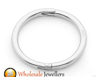 1pc Single Solid Sterling Silver 18G Seamless Hinged Hoop Nose Lip Sleeper Ring Earring Body Piercing