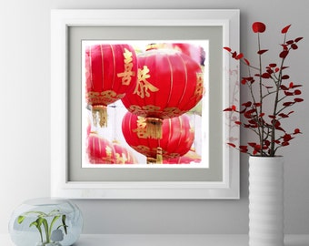 Chinese Red Lanterns, Chinatown, San Francisco, Travel Photography, Paper Lanterns, Red, Chinese New Year, Digital Download, Instant Art
