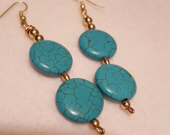 Turquoise and gold bead earrings