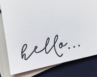 Boxed set of 6 luxury 'hello' letterpress notecards