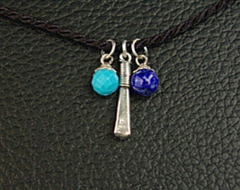 Sterling silver & turquoise and lapis beads Pendant