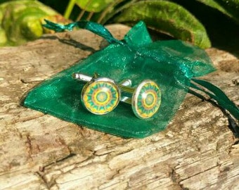 Green and yellow mandala cufflinks, 12mm face, handmade.