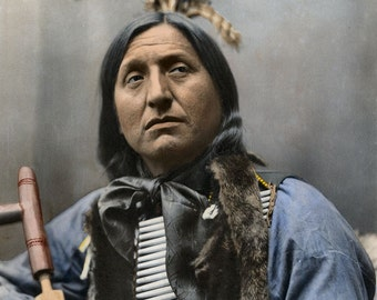 Native American Indian Chief Left Hand Bear Portrait Wild West Photo Art Print Picture A3 A4