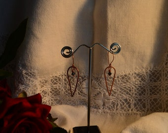 Unique copper Drop earrings
