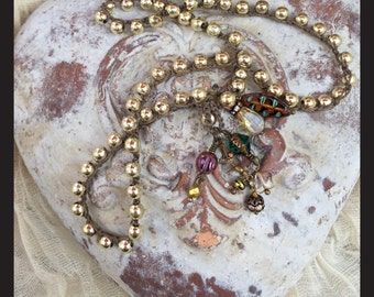 Necklace Crochet Gold Jewel Tones Boho