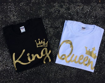Gold King and Queen unisex shirt - best couples shirts -T-shirt for women. T- shirt for men- gift for her and for him - couples apparels