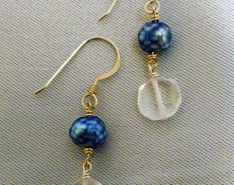Blue Pearl and Crystal Earrings