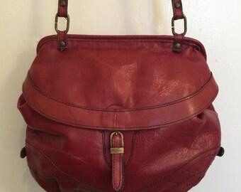 80's dark red leather crossbody bag
