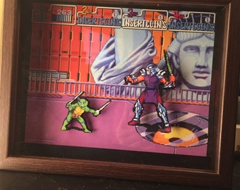 TMNT Shadow Box Ninja Turtles - Teenage Mutant Ninja Turtles - Turtles in Time - SNES Super Nintendo Classic Video Game - Geek Art