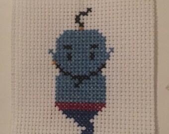 Blue genie cross stitch cute gift present home decor