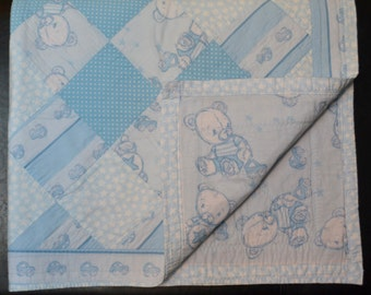 Blue Teddy Bear Quilt
