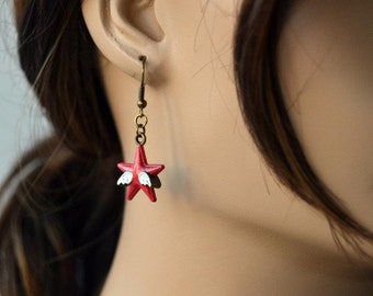 Hand Painted Steve/Bucky Earrings, Captain America The Winter Soldier Inspired