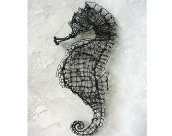 Wire Sculpture, seahorse decor, steampunk decor, Wire Decor, wall sculpture, husband gift, wire seahorse, birthday gift, anniversary gift