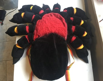 Giant Tarantula Backpack Medium Mexican Red Knee Tarantula Spider, knapsack, rugged, furry, plush, water resistant, hand made