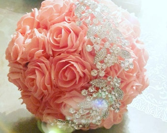 Bouquet pink coral and wave of rhinestones