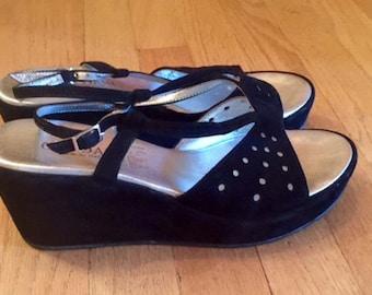 wonderful vintage cordani black suede platform shoes sandals